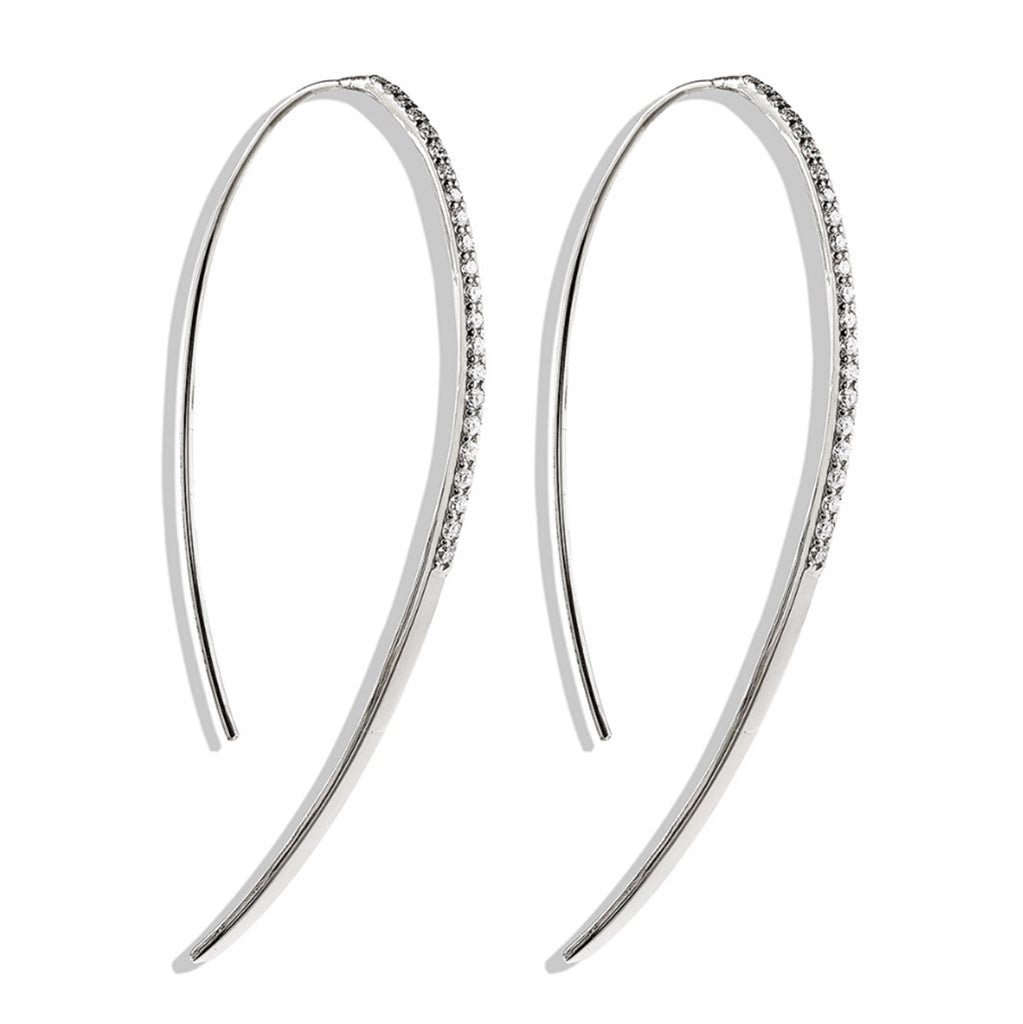 14k gold half hoop diamond wire earrings E694