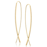 14k gold long diamond hoop wire diamond earrings E696