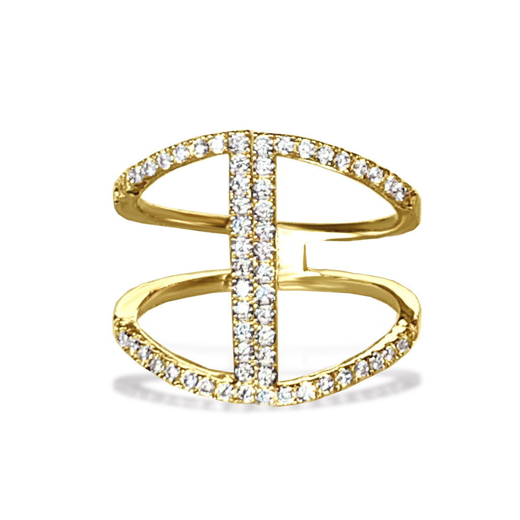 14k gold diamond bar fashion ring FR262
