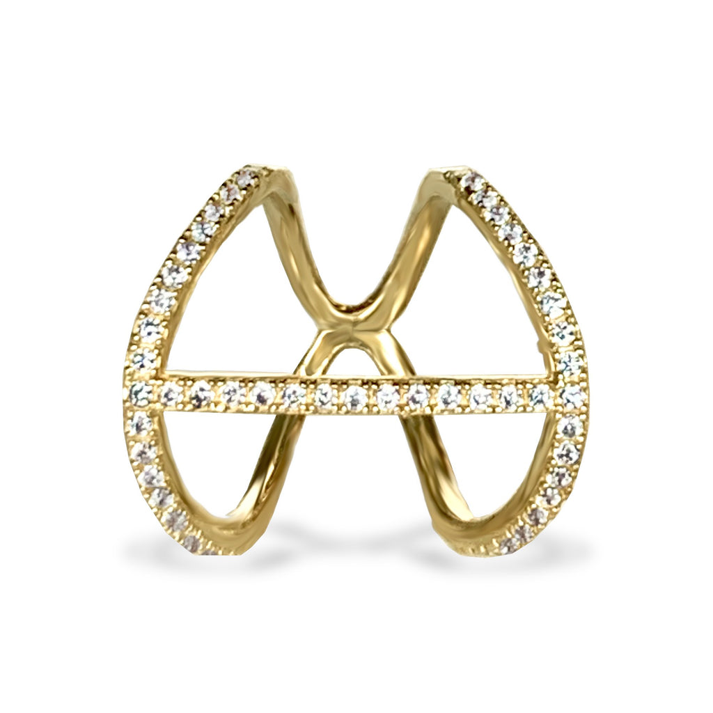 14k gold diamond bar fashion ring FR268