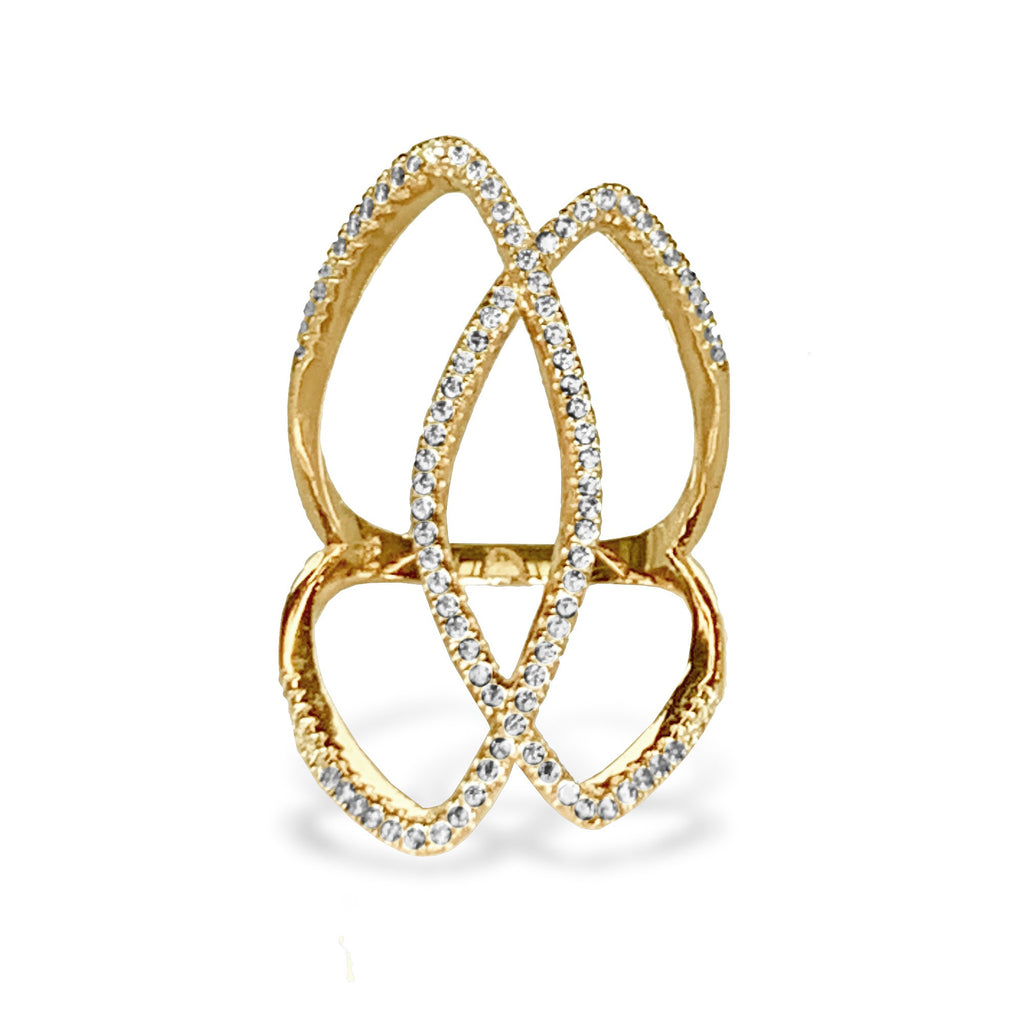 14k gold diamond interlocking fashion ring FR273