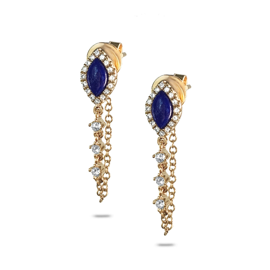 14k Marquise Lapis and Diamond Chain Earrings ME00005