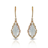 14k gold art deco ornate kite white topaz diamond dangle earrings ME1331TOW