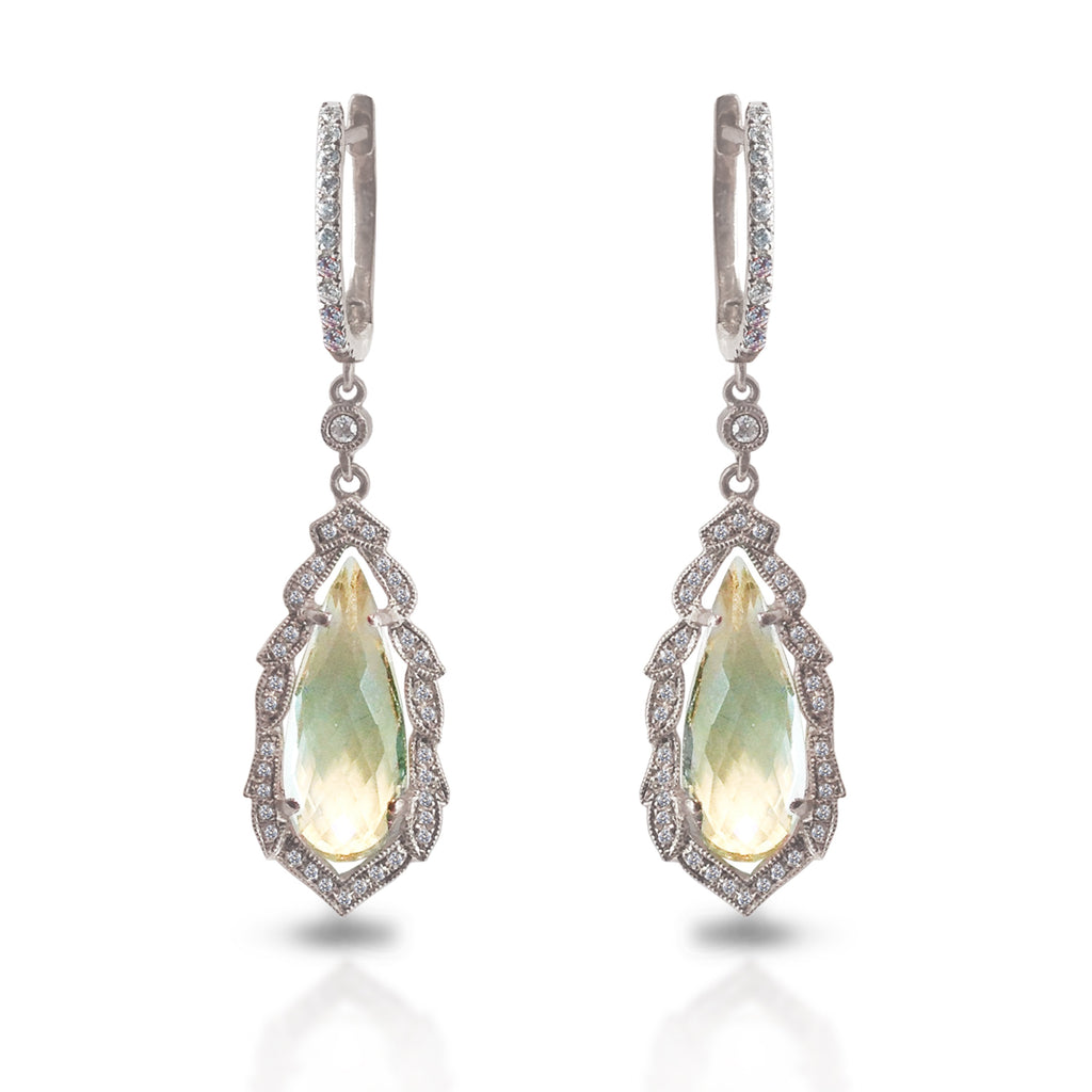 14K Ornate Green Amethyst Diamond Earrings ME2155