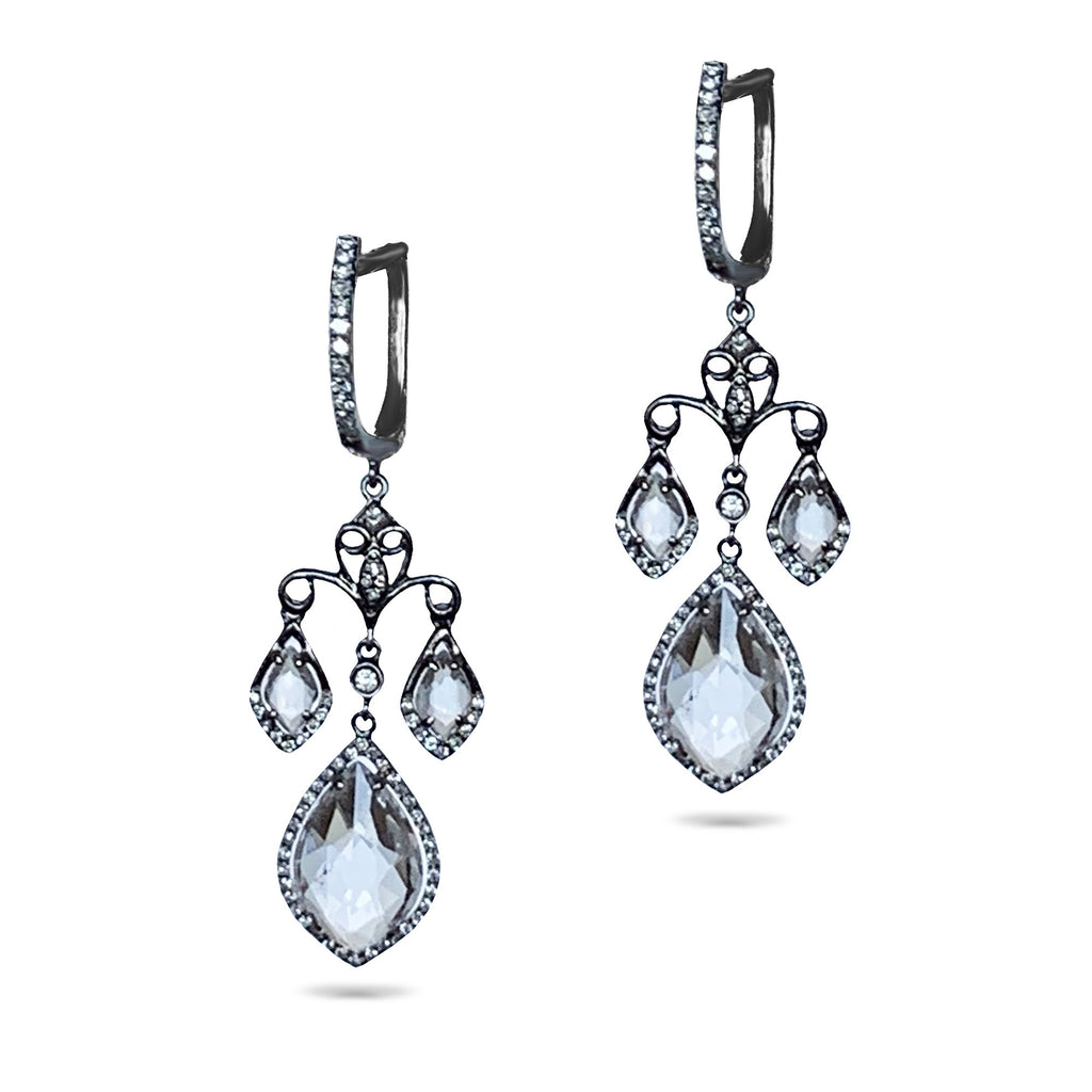 14k Halo Blue Topaz Diamond Chandelier Earrings ME21852
