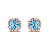14K Gold Diamond Halo Blue Topaz Stud Earring ME22501BT