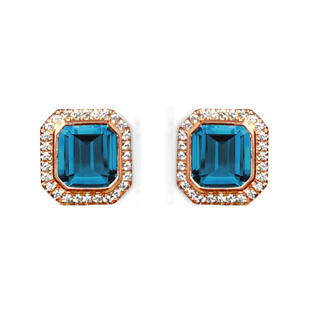 14k gold cushion octagon london blue topaz diamond stud earrings ME2315