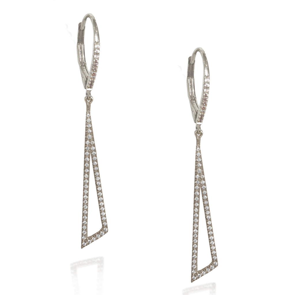 14K Offset Triangle Diamond Dangle Hoop Earrings ME23779