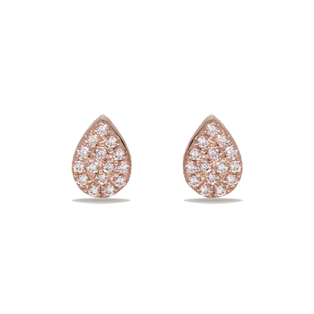 14K Gold Teardrop Pave Stud Diamond Earrings ME24633
