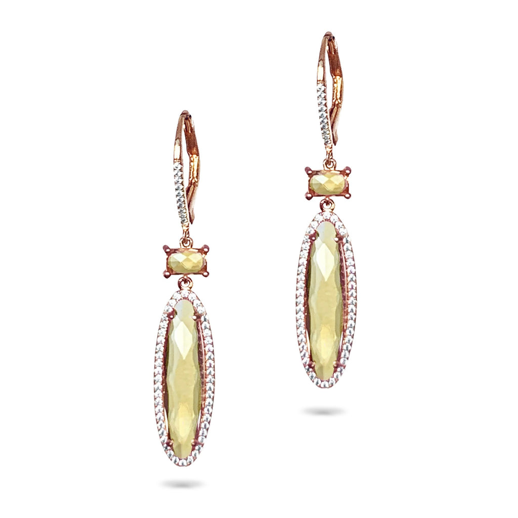 14k oval citrine & diamond dangle earrings ME26193
