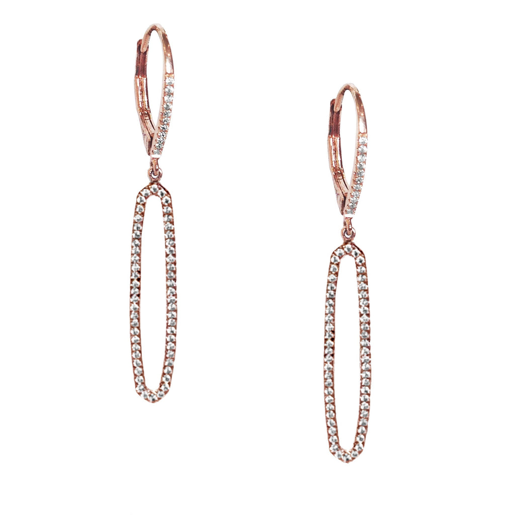 14k gold elongated open oval diamond pave hoop dangle earrings ME26194