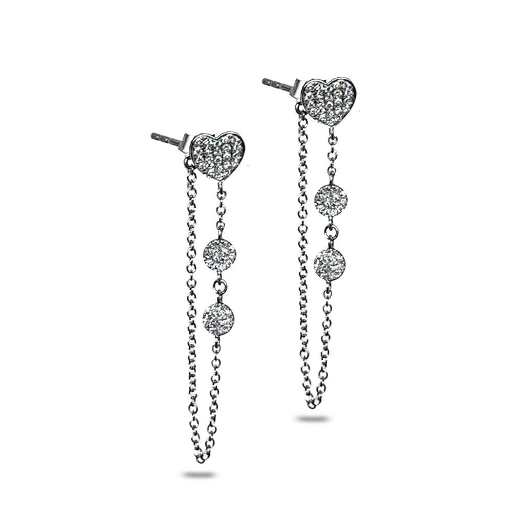 14K Heart Pave Diamond Discs Chain Earrings ME26808
