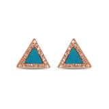 14K Gold Diamond Turquoise Triangle Stud Earring ME2803TQ