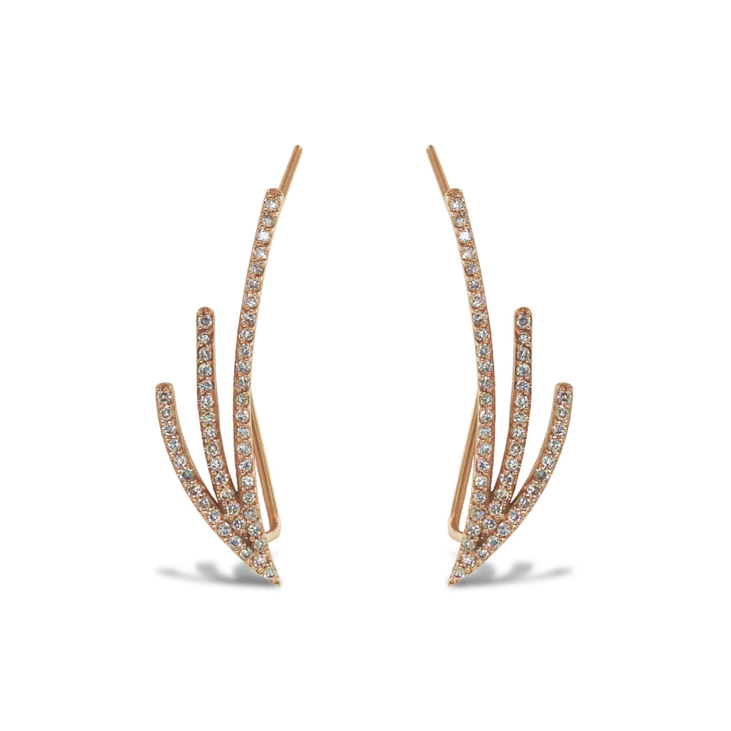14K Gold Three Branch Diamond Climber Earring ME2919