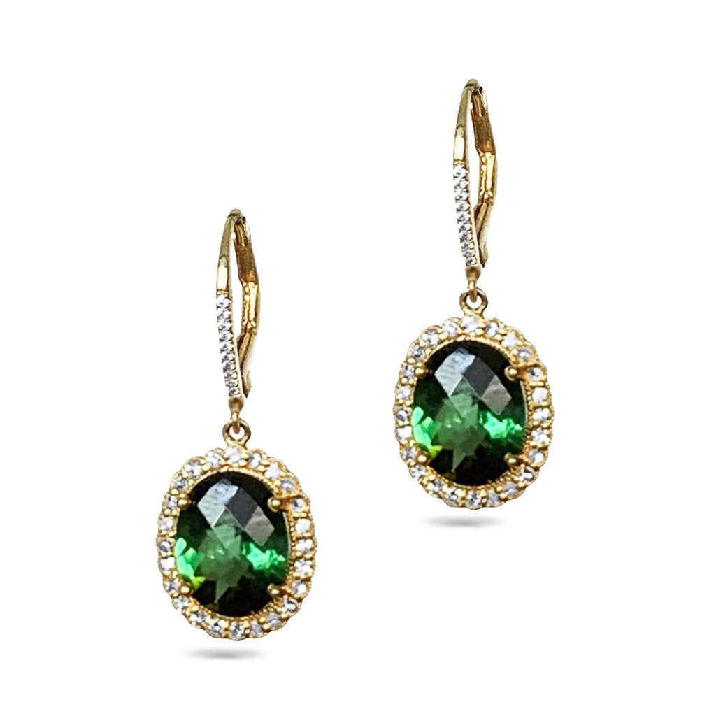 14k gold oval green tourmaline halo hoop dangle earrings ME31591GT