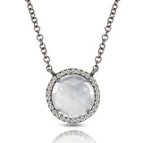 14K Gold Round Halo Diamond & White Topaz Necklace MN22498WT