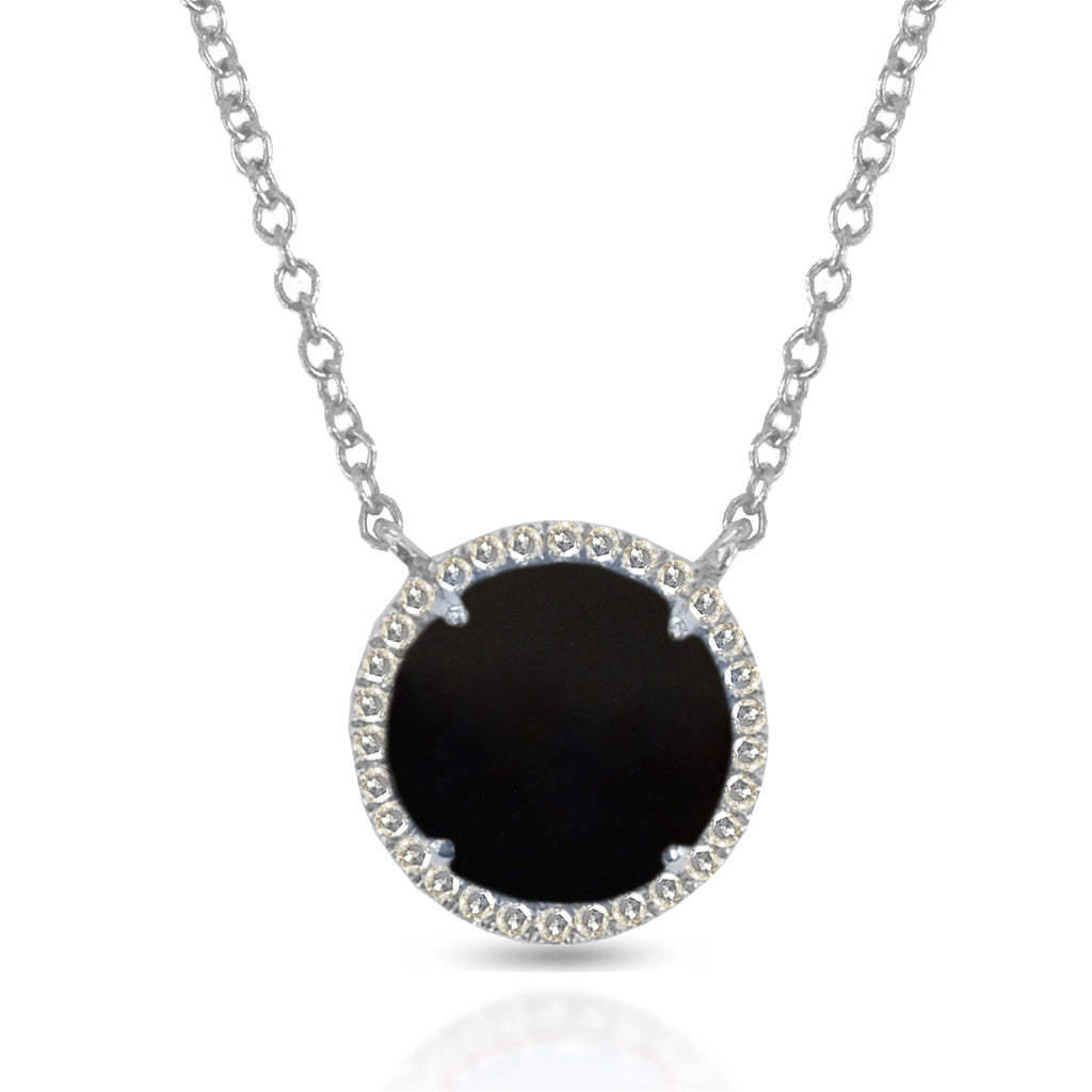 14K Gold Round Halo Diamond & Onyx Necklace MN22498OX