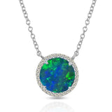 14K Gold Round Halo Diamond & Opal MN22498OP
