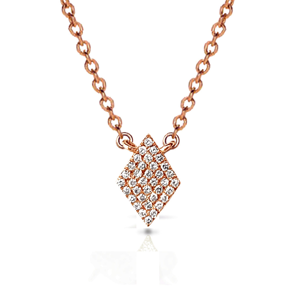 14k Petite pave diamond shape charm necklace MN24839
