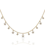 14k Gold diamond dew drop and star necklace MN3003