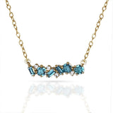 14k gold blue topaz baguette bar necklace MN3341