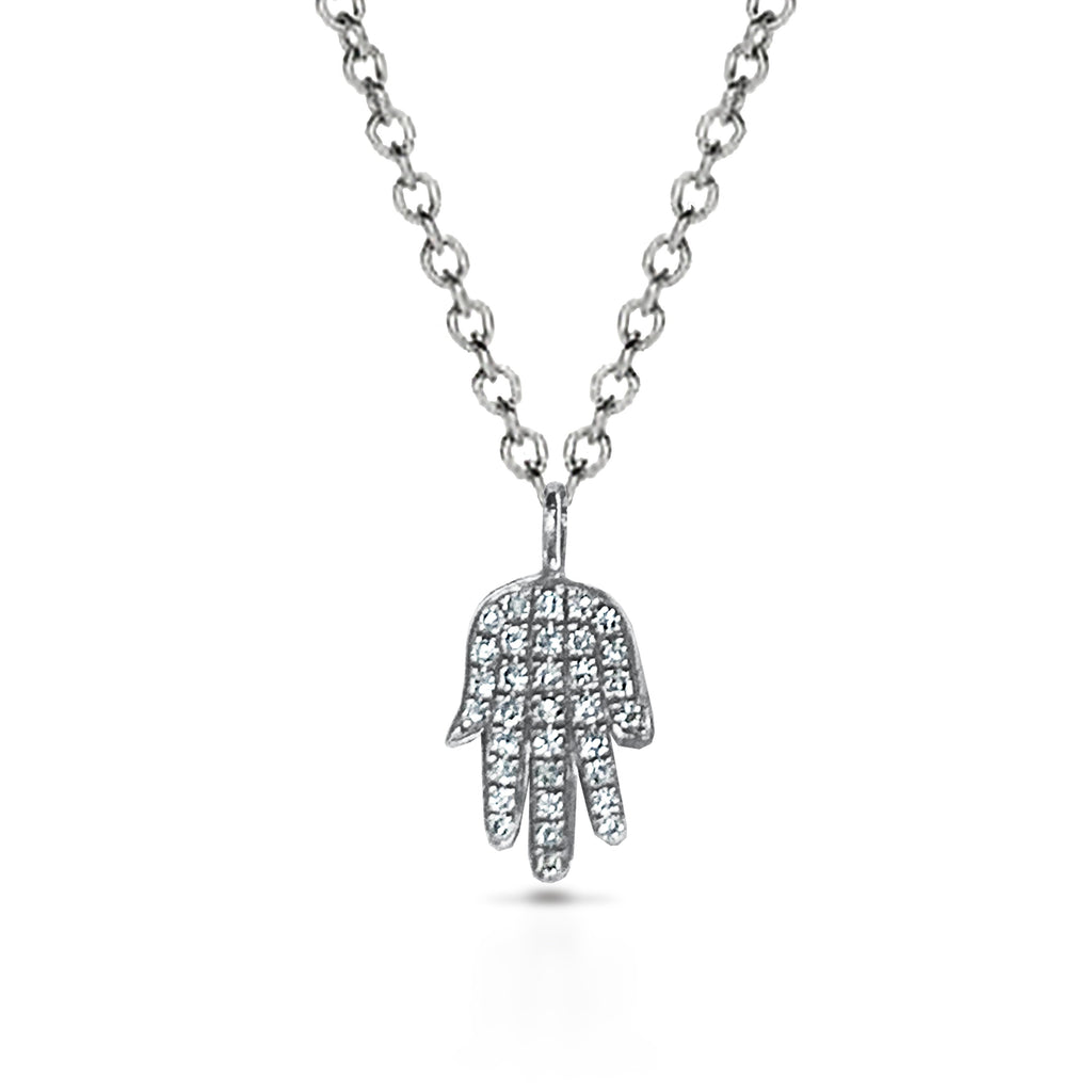 14k Gold diamond hamsa charm necklace MN34090