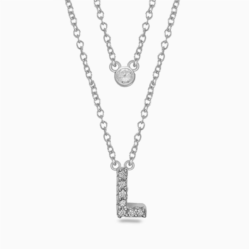 14k gold and diamond initial necklace MN36281L