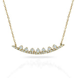 14k gold curved diamond bar necklace MN42490
