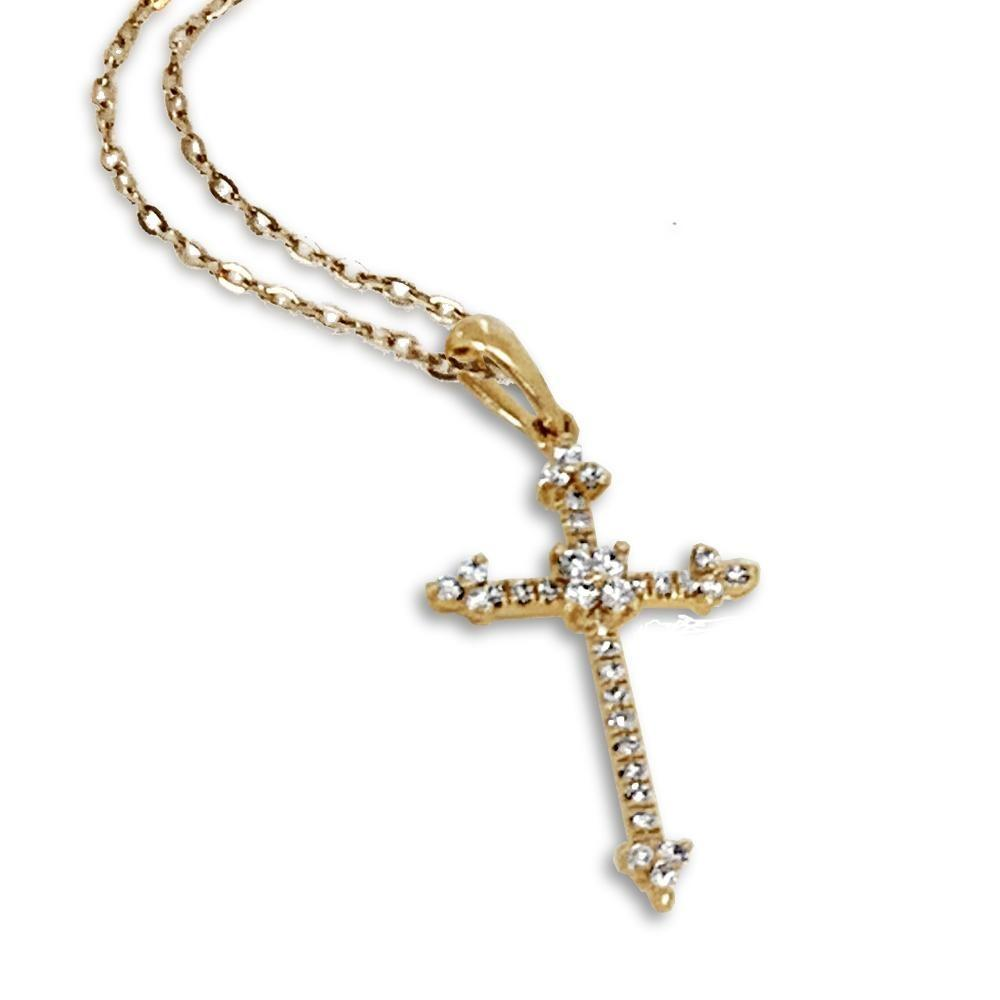 14K gold elegant diamond cross pendant MN43550