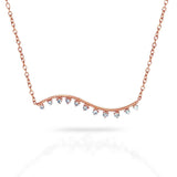 14k gold wavy diamond bar necklace MN43729