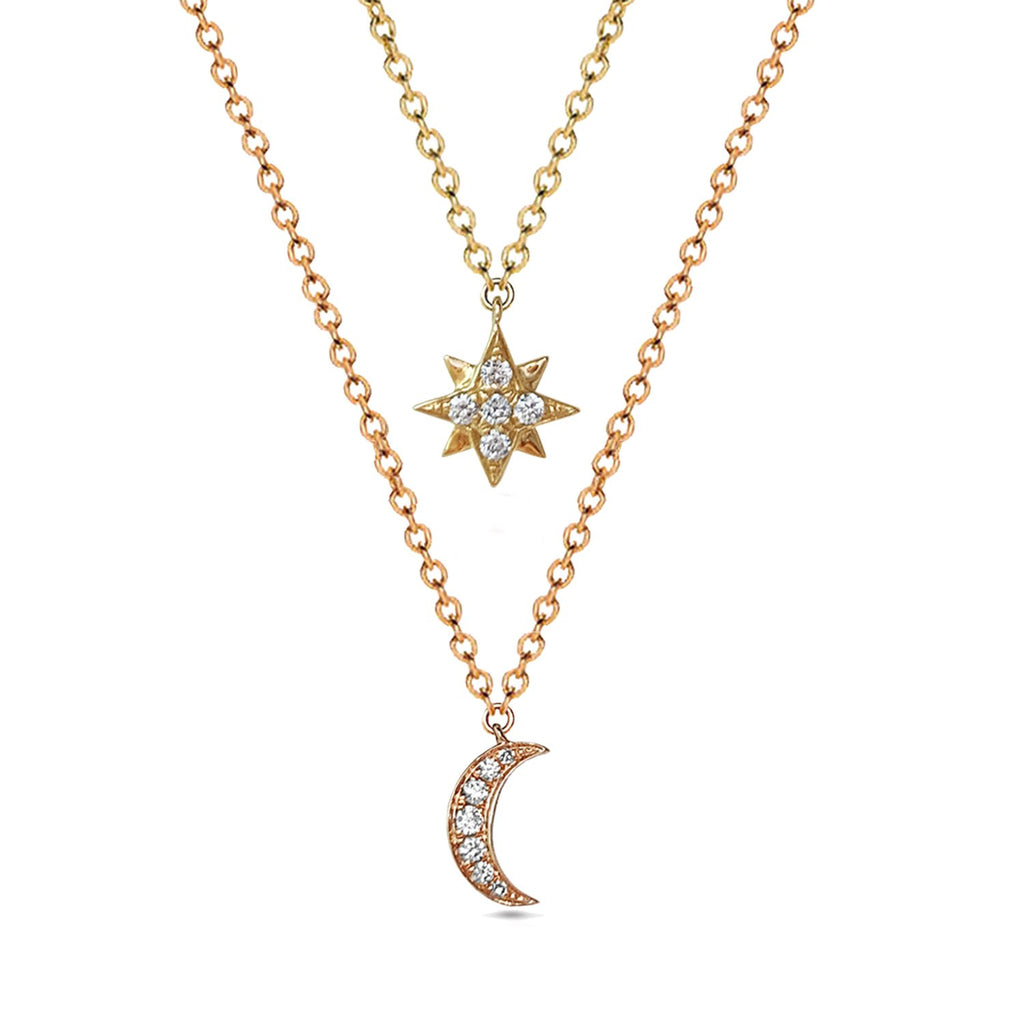 14k gold Crescent moon diamond charm necklace MN44553A