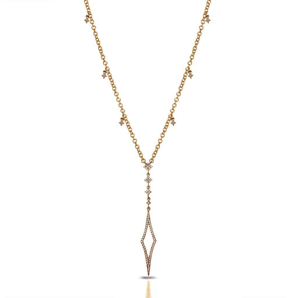 "14k gold art deco diamond pave "" Y "" lariat necklace MN71434"