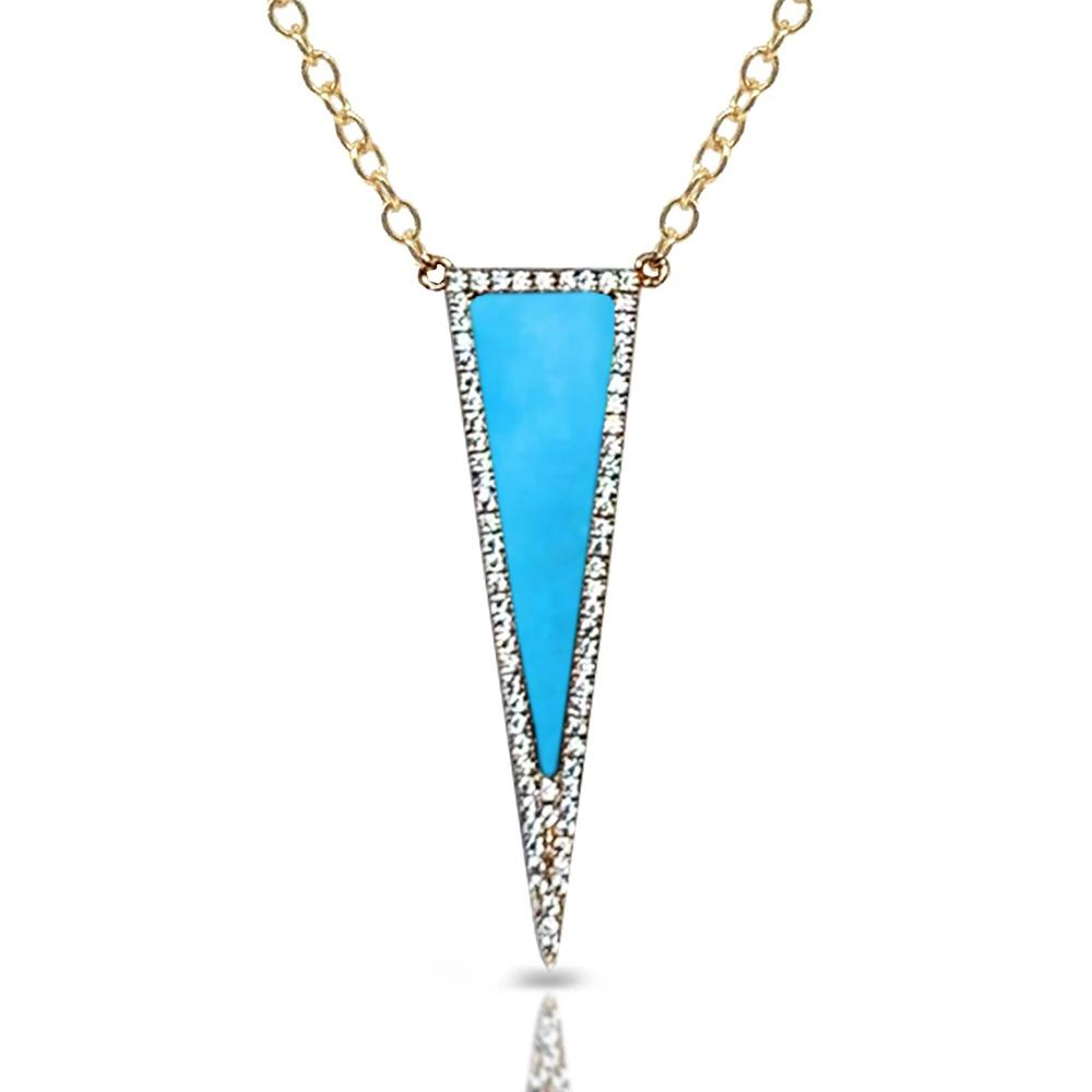 14k gold turquoise and diamond art deco necklace MN71558TQ