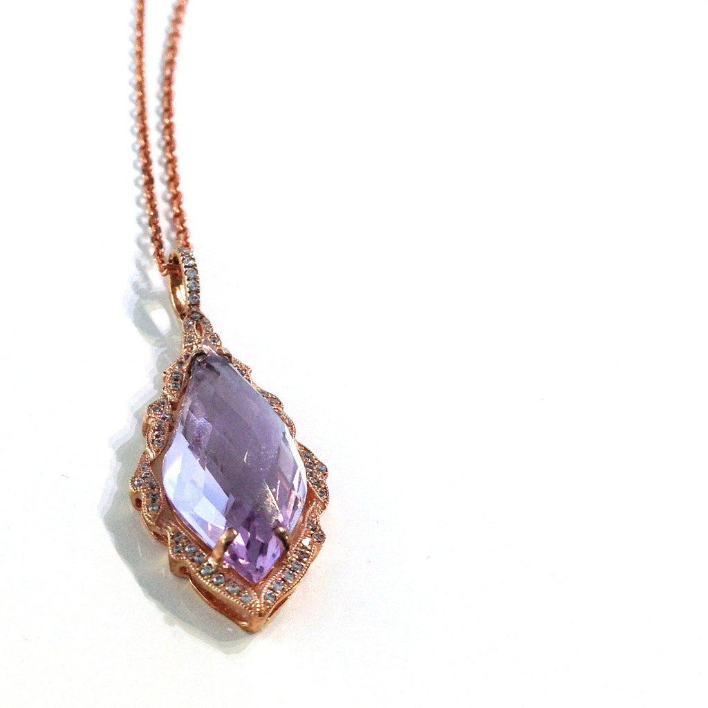 14K Gold Pink Amethyst and Diamond Ornate Pendant Necklace MP1331AM