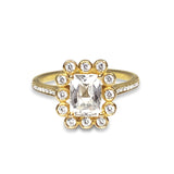 14k gold emerald cut white topaz engagement ring MR31594WTE