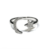 14k gold crescent moon star diamond fashion ring MR31654
