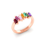 14k Gold Multi Color Baguette Fashion Stack Ring Band MR4445MC
