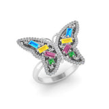 14k gold multi color baguette fashion butterfly ring  MR4449