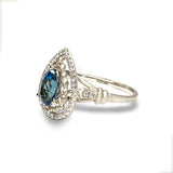 14k matt gold drop london blue topaz fashion ring MR45179