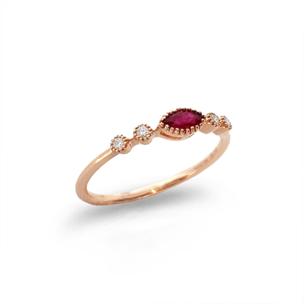 14K Marquise Ruby & Diamond Stack Ring MR45620R