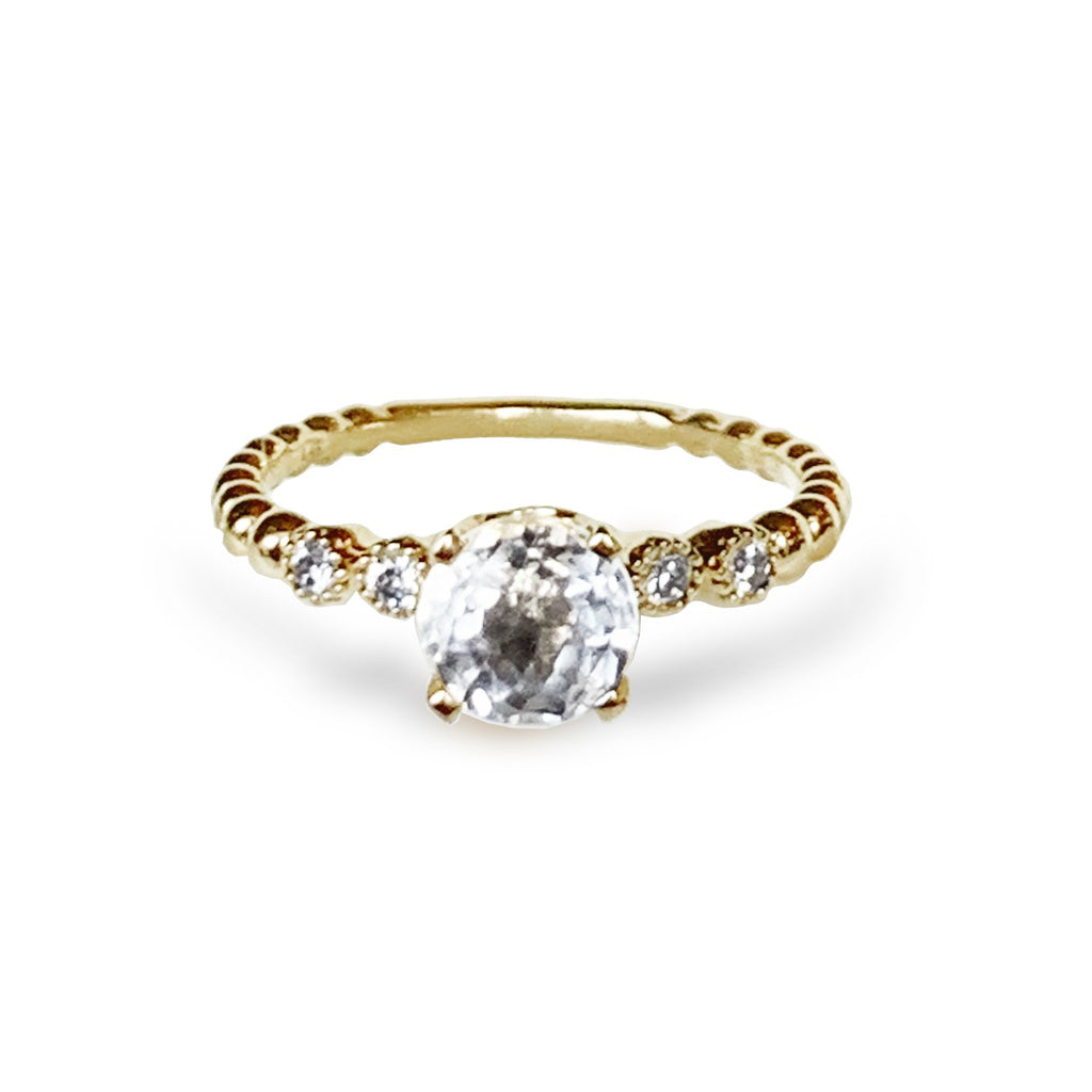 14k gold modern white topaz solitaire ring MR47139