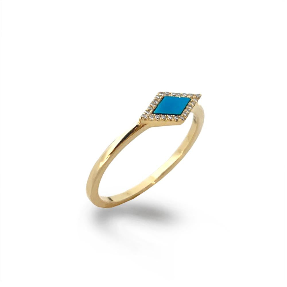 14K Marquise Turquoise & Diamond Stack Ring MR71675TQ