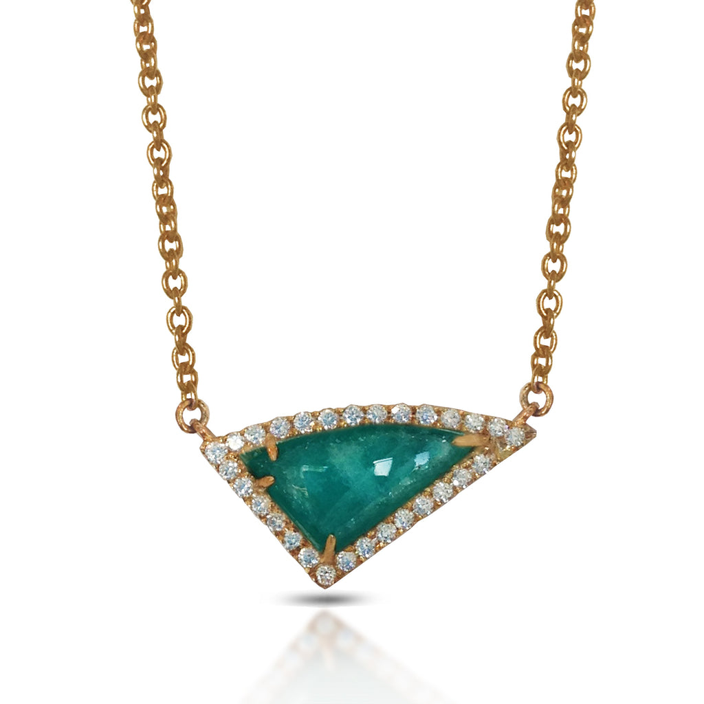 14K Gold Diamond Irregular Triangle Amazonite Fashion Necklace ON1AMZ