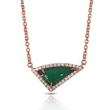 14K Gold Diamond Irregular Triangle Emerald Necklace ON1TRE