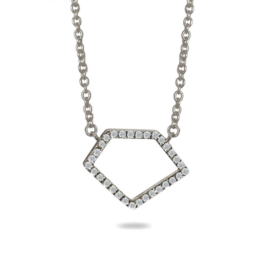 14k octagon diamond pave necklace ON2D