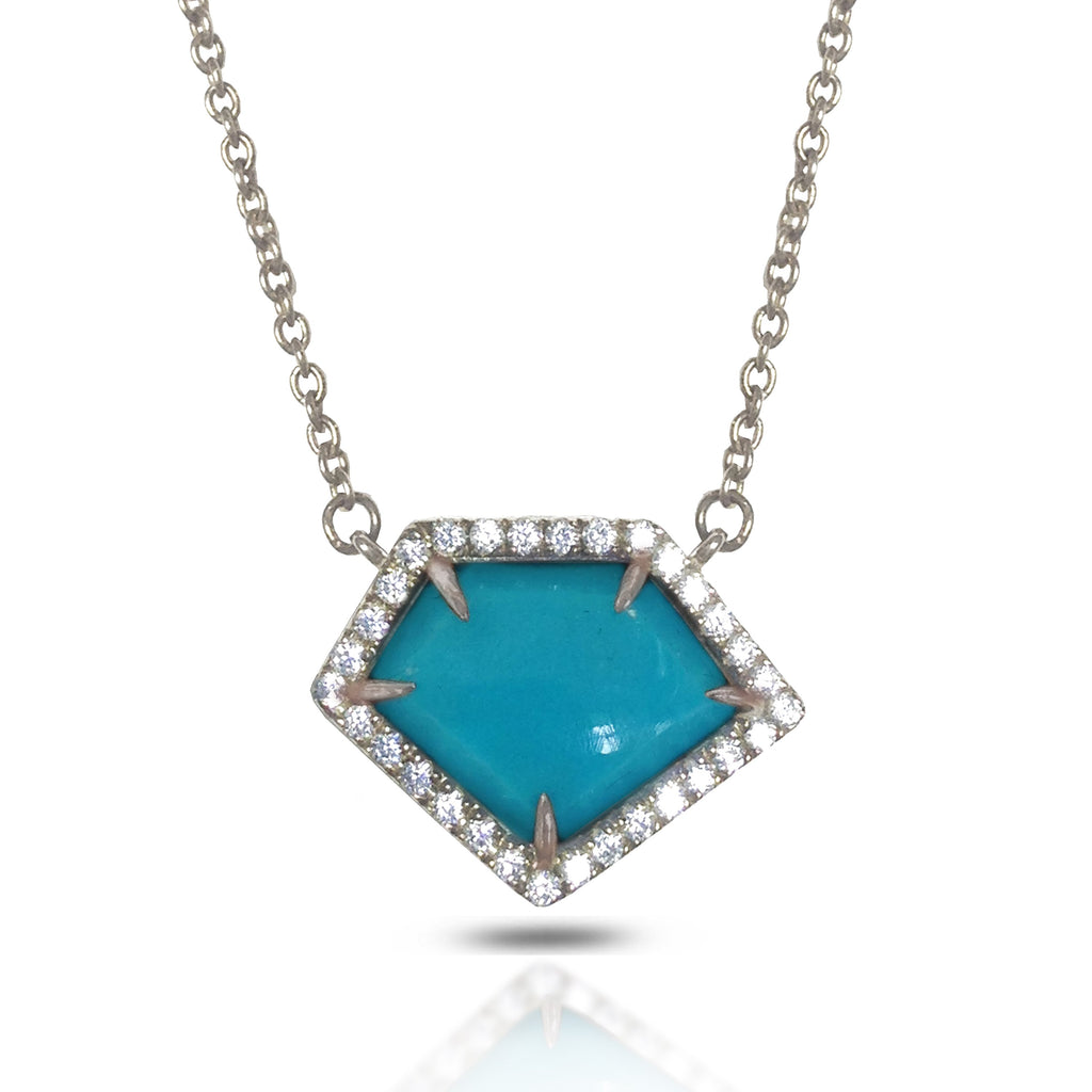 14K Polygon Turquoise Diamond Necklace ON2TRQ