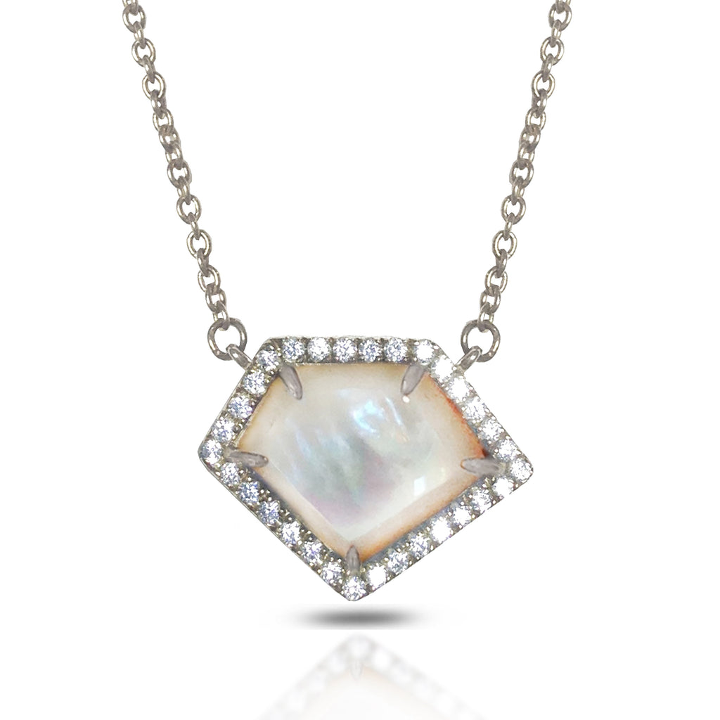 14K Polygon Mother of Pearl Diamond Necklace ON2WMP