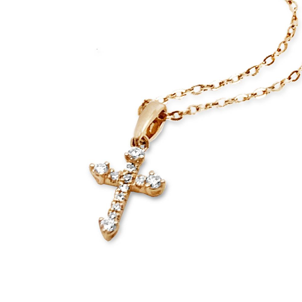 14K Gold Delicate Cross Diamond Necklace P43545