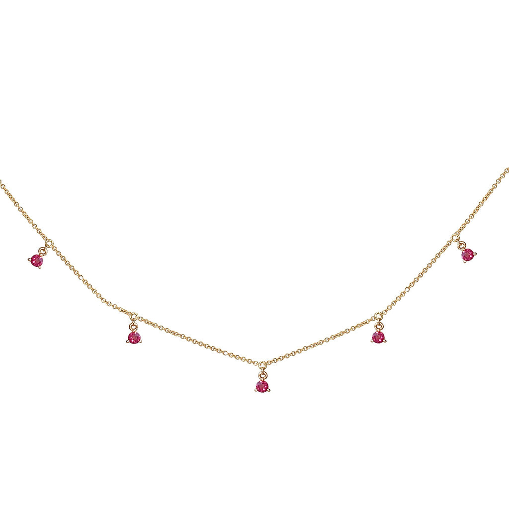 14k Hanging RUBY station necklace MN44917R