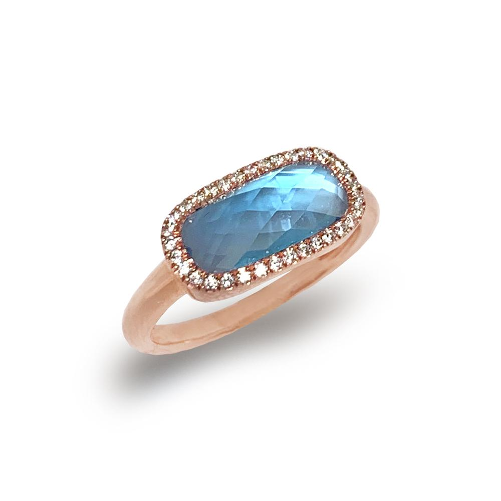 14K Gold Cushion London Blue Topaz Doublet Fashion Engagement Ring R8488